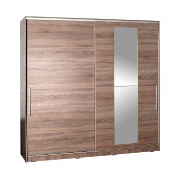 Ντουλάπα συρόμενη σταχτί με καθρέπτη κρεμάστρα και εσωτερικά πατάρια 210x60x207εκ
