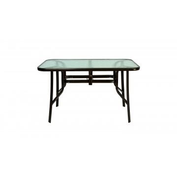 Τραπέζι μεταλλικό καφέ σφυρήλατο με τζάμι ασφάλειας και εξτρά πόδι στην μέση για ενίσχυση  και σταθερότητα 140*80*75 εκ