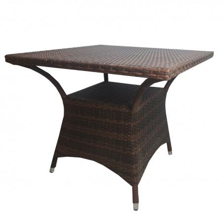 τραπέζι ραταν καφέ αλουμινίου με βοηθητικό χώρο 70*70*73εκ