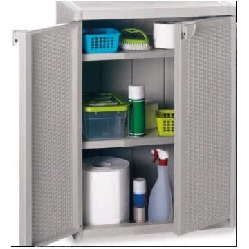 Πλαστική ντουλάπα με ράφια χαμηλή WICER