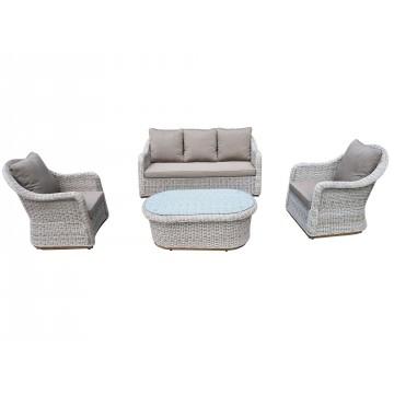 Σαλόνι   εξωτερικου χώρου με τριθέσιο καναπέ σετ 4 τεμαχίων οβαλ