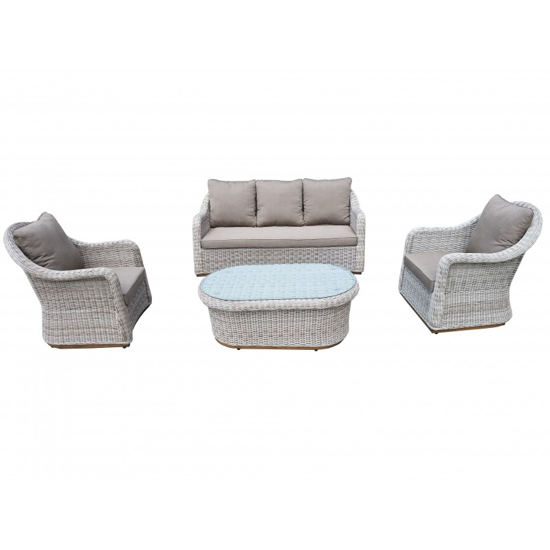 Σαλόνι  wicker/ratan εξωτερικου χώρου με τριθέσιο καναπέ σετ 4 τεμαχίων οβαλ