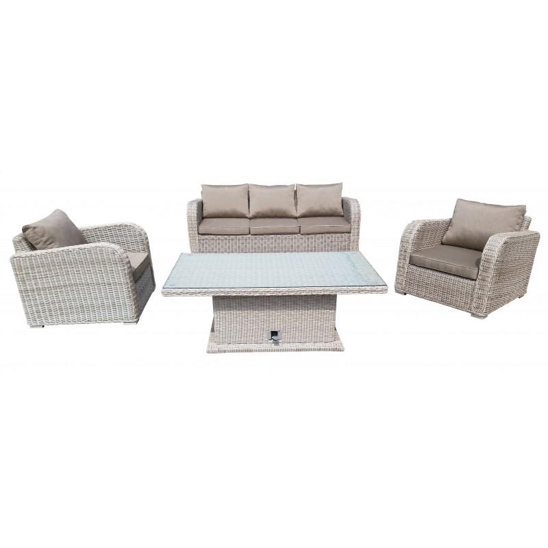 Σαλόνι ratan/wicker εξωτερικου χώρου σετ 4 τεμαχίων με τριθέσιο καναπέ