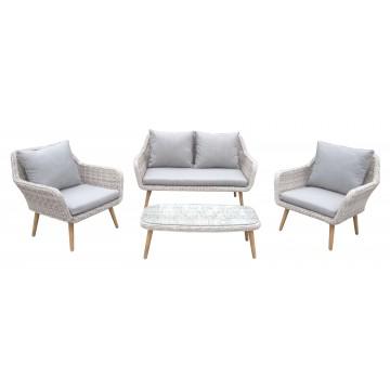 Σαλόνι εξωτερικου χώρου σετ 4 τεμαχίων αλουμινίου με διθέσιο καναπέ
