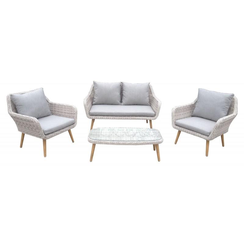 Σαλόνι ratan/wicker εξωτερικου χώρου σετ 4 τεμαχίων αλουμινίου με διθέσιο καναπέ