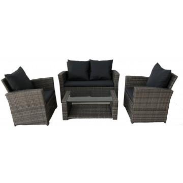 Σαλόνι  εξωτερικου χώρου σετ 4 τεμαχίων  με διθέσιο καναπέ χρώμα γκρι