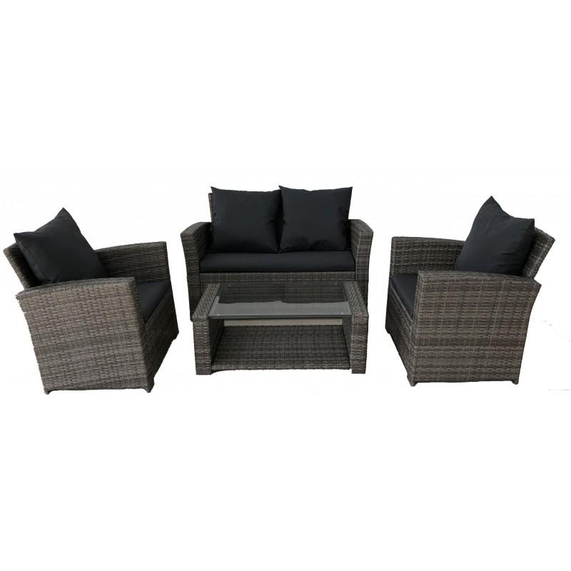 Σαλόνι ratan/wicker εξωτερικου χώρου σετ 4 τεμαχίων  με διθέσιο καναπέ χρώμα γκρι