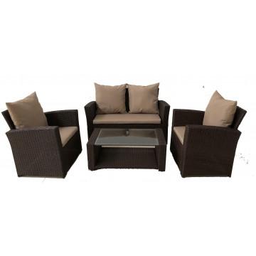 Σαλόνι ratan/wicker εξωτερικου χώρου σετ 4 τεμαχίων με διθέσιο καναπέ χρώμα καφέ