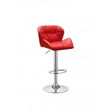 Σκαμπό για μπαρ με πλάτη επενδυμένο με δερματίνη PU EF-08000523 χρώματος κόκκινο