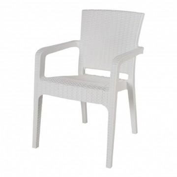 Πολυθρόνα πλαστική ραταν πολυπροπυλένιο λευκή