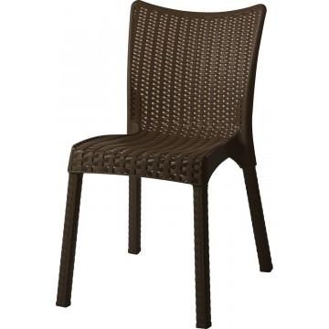 Καρέκλα πλαστική ραταν πολυπροπυλενίου χρώματος καφέ