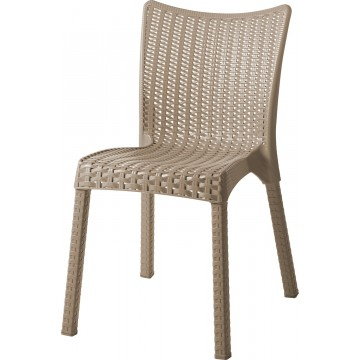 Καρέκλα ραταν πολυπροπυλενίου χρώματος καπουτσίνο