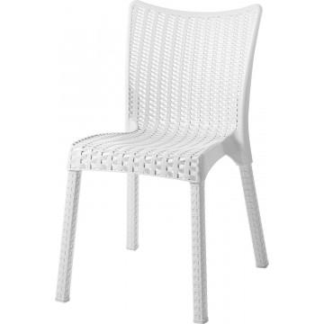 Καρέκλα πλαστική ραταν πολυπροπυλενίου χρώματος λευκή