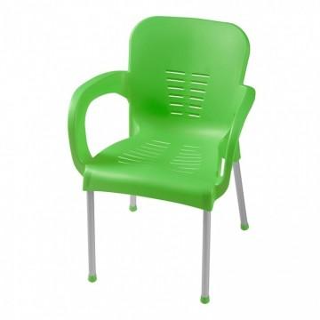 πολυθρονα πλαστική με αλουμινίου πόδια χρωματιστή