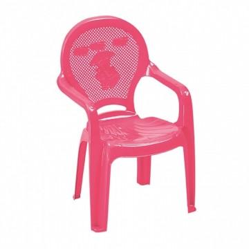 Πλαστική  παιδική πολυθρόνα  ροζ με σχέδιο