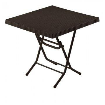 Τραπέζι πλαστικό τετράγωνο ραταν με μεταλλικα ποδια πτυσσομενο