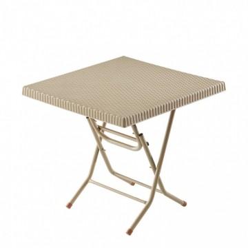 Τραπέζι πλαστικό τετράγωνο ραταν πολυπροπυλενίου με μεταλλικα ποδια πτυσσομενο