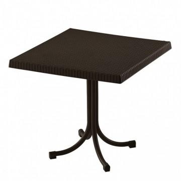 Τραπέζι πλαστικό τετράγωνο ραταν με μεταλλικα ποδια σταθερο.