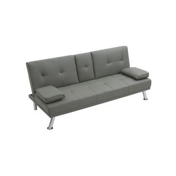καναπές κρεβατι με επένδυση PU γκρι