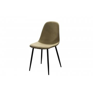 καρέκλα με δερματίνη μπεζ  και μεταλλικά πόδια