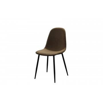 καρέκλα με δερματίνη μαύρη και μεταλλικά πόδια