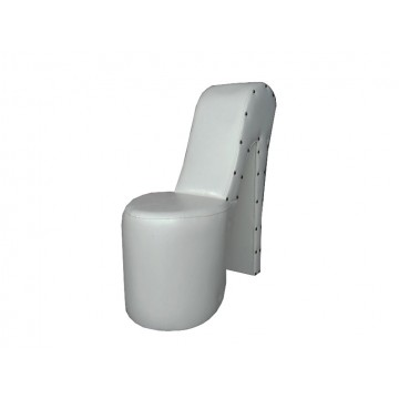 πουφ κάθισμα γόβα λευκή με ψηλή πλάτη