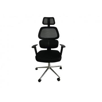Πολυθρόνα γραφείου με διάτρητο ύφασμα με προσκέφαλο και ρυθμιζόμενα μπράτσα.