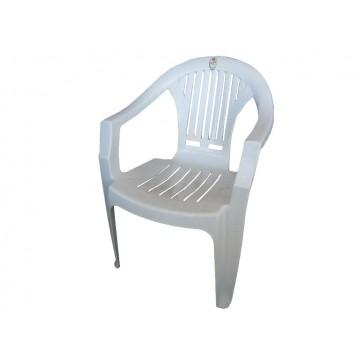 πολυθρονα πλαστική με μπρατσα λευκή