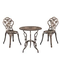Σετ 3 τεμ τραπεζι με δυο καρέκλες με λουλούδια εξωτερικου χώρου