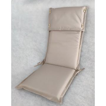 Μαξιλάρι με ψηλή πλάτη και προσκέφαλο εξωτερικου χώρου με επένδυση από αδιάβροχο υφασμα σε χρώμα μπεζ της άμμου