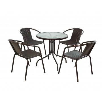 Σετ τραπεζαρία καφέ 5 τεμ με 4 καρέκλες και τραπεζι