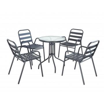 Σετ τραπεζαρία γκρι 5 τεμ με 4 καρέκλες και τραπεζι