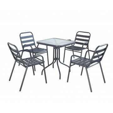 Σετ τραπεζαρία γκρι 5 τεμ με 4 καρέκλες και τραπεζι τετράγωνο