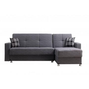 Γωνιακός καναπές κρεβατι γκρι με 2 αποθηκευτικούς χώρους