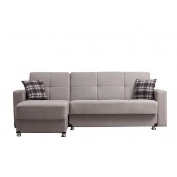 Γωνιακός καναπές κρεβατι με 2 αποθηκευτικούς χώρους Χρώμα: μπεζ