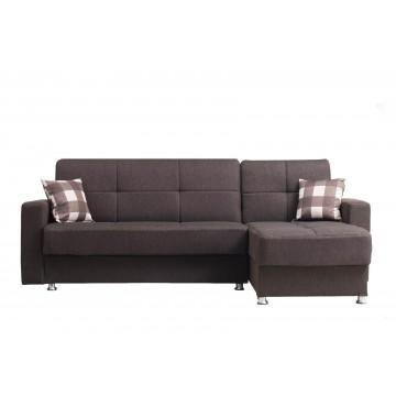 Γωνιακός καναπές κρεβατι μαυρο καφέ με 2 αποθηκευτικούς χώρους