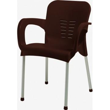 Πολυθρόνα πλαστική καφέ με αλουμινίου πόδια